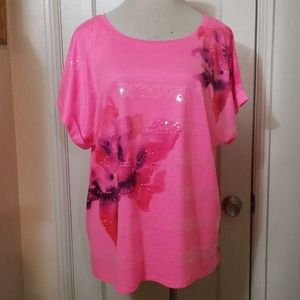 LANE BRYANT 22/24 pink purple floral sequined top